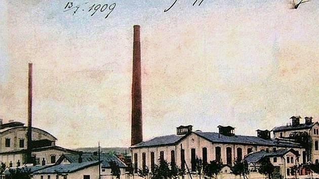 Cukrovar v Havrani na pohlednici z roku 1909