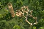 Vizualizace 3D bludiště pro park Šibeník v Mostě