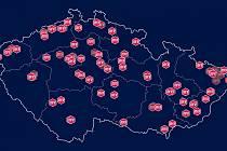 Mapa pětikilometrových běžeckých tras pod záštitou Mattoni FreeRun (MFR).
