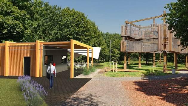 Vizualizace budoucího občerstvení se zázemím a toaletami u 3D bludiště a rozhledny v parku Šibeník v Mostě