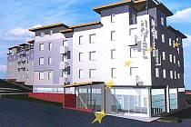Vizualizace nového hotelu v centru Litvínova.