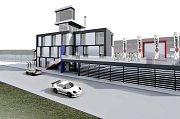 Studie rekonstrukce startovní věže velkého závodního okruhu na autodromu v Mostě