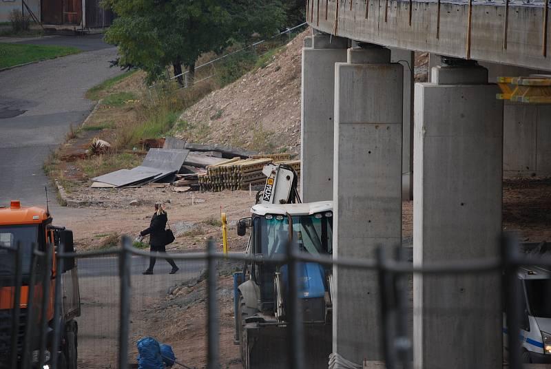 Výstavba nového mostu v Litvínově.