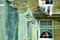 Žena se dívá z okna domu v sociálně vyloučené Stovce v Mostě, kde kritizovanou zónu dělí od jednoho ze sousedních domů plot s ostnatým drátem.