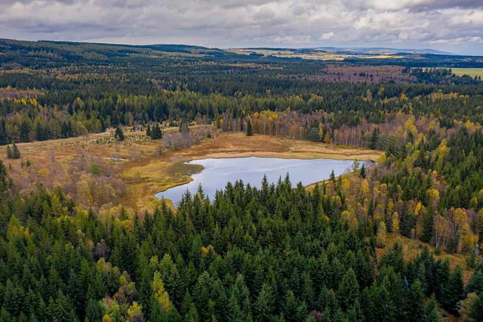 Krásy Krušných hor. Starý rybník u obce Výsluní