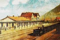 První vlakové nádraží v Mostě v roce 1881 na obrazu J. Pappa. V roce 1870 tam dorazila první vlaková souprava sestávající z lokomotivy, zavazadlového vagonu za lokomotivou a devíti amerických osobních vagónů, kde každé kupé mělo vlastní dveře.