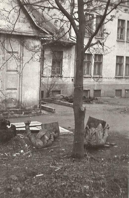 Mostecká socha Klementa Gottwalda, prvního komunistického prezidenta, leží po svém svržení v roce 1990 před mosteckým muzeem. Vedle je další socha, milicionář ze Zahražan.