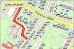 V Mostě se hledá nové dopravní řešení pro 8 lokalit. Změny navrhne studie. Dotčené oblasti jsou na mapce vyznačeny červeně.