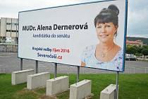 Billboard s Alenou Dernerovou u pošty v Mostě.