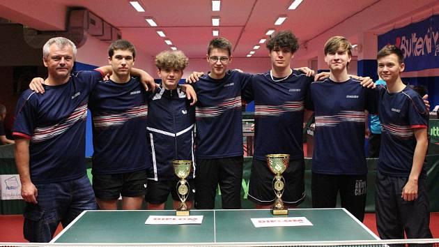 Zleva: Milan Bořík (trenér), Pavel Schmoranz, Šimon Hrodek, Jan Sebránek, David Záruba, Jakub Fencl a Filip Keller.