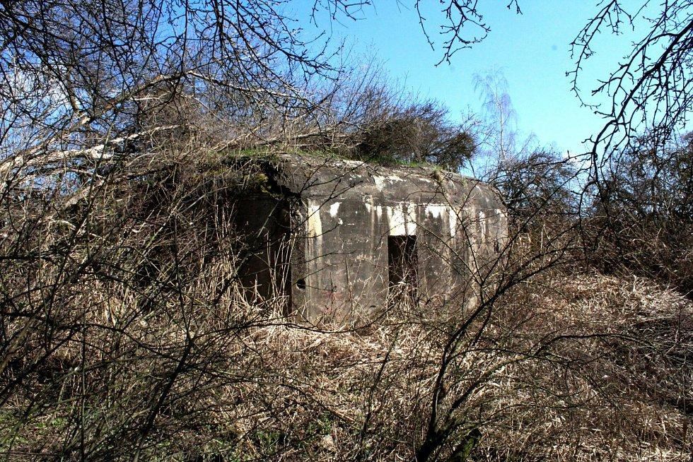 Další pohled na bunkr zarostlý vegetací u silnice na Moariásnké Radčice na Mostecku.