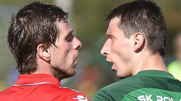 Souš (v červeném) v posledním domácím zápase sezony proti Nymburku.