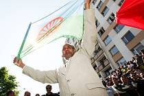 Demonstrace v Krupce v roce 2009, kdy na severu Čech gradovaly protiromské nálady posilované akcemi krajní pravice.