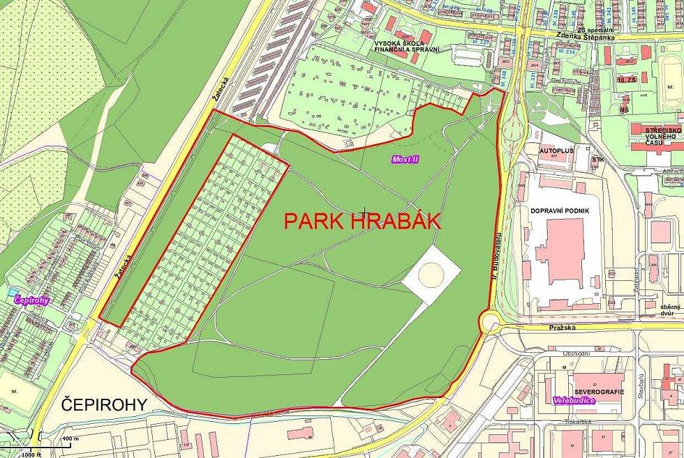 Mostecký park Hrabák od 90. let pustne. Není v něm žádné zázemí pro lidi. Ti se zdržují spíše v sousední zahrádkářské kolonii