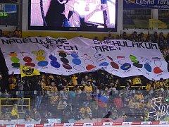 Transparent litvínovských fanoušků při derby s Chomutovem.