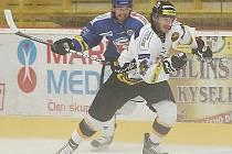 Litvínovský hokejista Viktor Hübl (v bílém dresu).