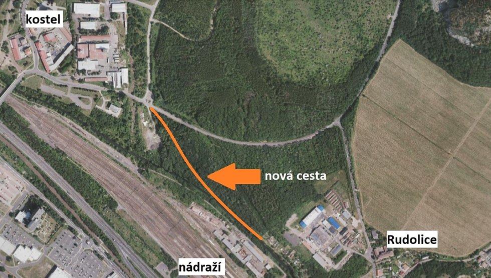Nová cesta Rudolice - Most. Zdroj: mapa (město Most), popisky (Deník)