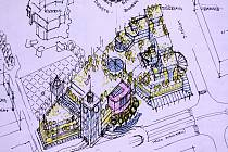 Studie zástavby centra Mostu (Plecháče) od společnosti City Galerie Most. Tento plán architekta Jan Foffa zastupitelstvo v roce 2004 nepřijalo.