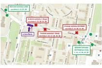 Z důvodu havárie a uzavírky ulice J. Skupy v Mostě budou až do odvolání autobusové linky č. 12, 17, 20, 22 a 30 v obou směrech vedeny po objízdné trase.
