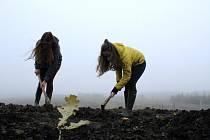 Studentky předvedly, jak se sází stromky s biouhlem.