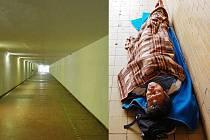 PŘED A PO. V podchodu mezi Mostem a Rudolicemi už nežijí tuláci a narkomani. Vlevo současnost, vpravu rok 2013 před opravou.