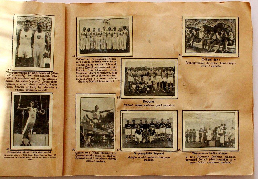 Sportovní kartičky se vrací. Vyráběly se, stále vyrábí a sbírají i u nás. Album Vítězové olympiady 1936.