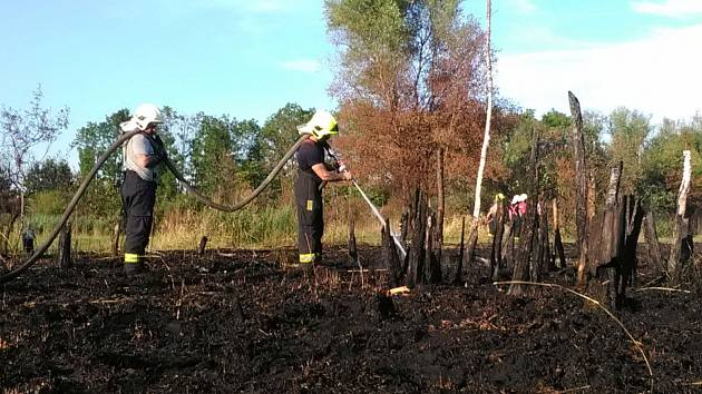 Hasiči likvidují požár uhelného prachu u rybníku v Komořanech