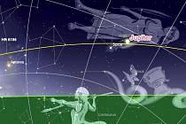 Takhle budou planety Jupiter a Saturn nad jižním obzorem před západem Slunce večer dne 24. července v 19.00 hodin