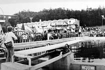 Koupaliště v Litvínově u Koldomu, kde se v roce 1974 uskutečnilo mistrovství ČSSR ve skocích do vody.