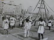 Oslavy 1. máje v Mostě, osmdesátá léta.