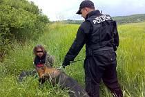 Mostecký strážník u zadrženého muže.
