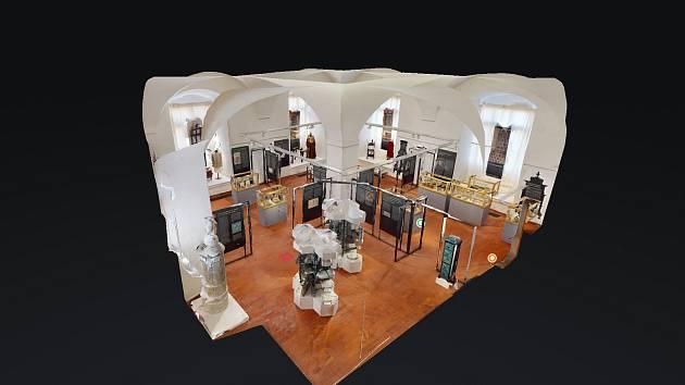 3D model výstavy Kachle sedmi století v chomutovském muzeu.