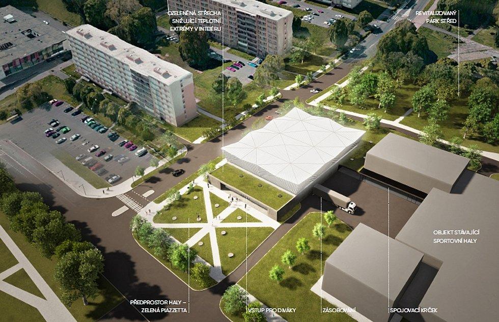 Vizualizace nového sálu Sportovní haly Most.