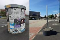 U křižovatky u Prioru už není betonový válec na plakáty, nová skruž bude z plastu.