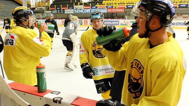 Pondělní trénink litvínovských hokejistů.