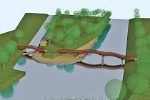 DVĚ PODOBY LÁVKY. Na vizualizaci máte možnost spatřit dvě varianty, jak by mohla lávka vypadat. Vlevo vidíte variantu s pilíři, připomínající spíše most. Tato podoba zatím v hlasování na internetu prohrává.