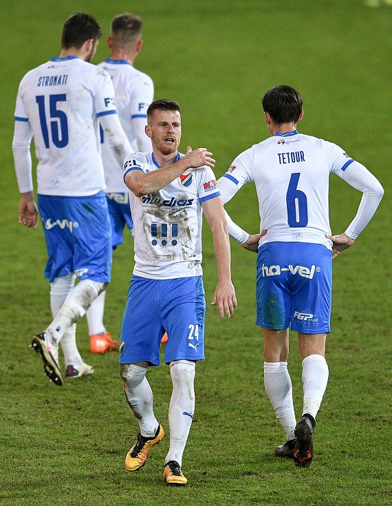 Utkání 21. kola první fotbalové ligy: FC Baník Ostrava – FK Teplice, 27 února 2021 v Ostravě. (střed) Jan Juroška z Ostravy.