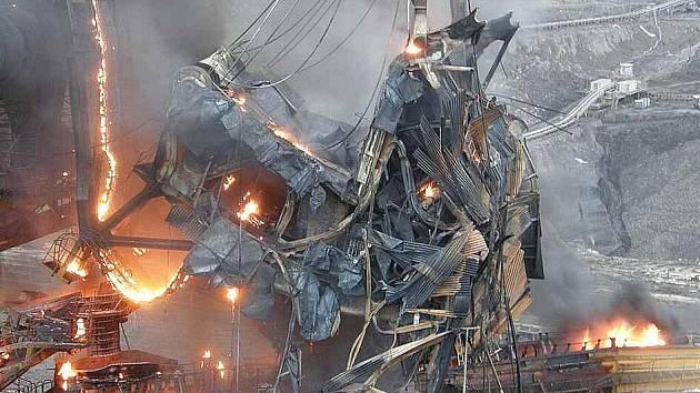Požár obřího rypadla KU 800-65 v dolech Bílina