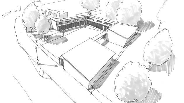 Situační nákres, jak by mělo v konečné fázi vypadat nové skautské středisko Dvojka Teplice, v Palackého ulici.