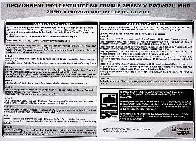 Změny vMHD Teplice od 1.ledna 2011