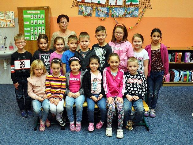 Na fotografii jsou žáci ze ZŠ Masarykova vKrupce, 1.Atřída paní učitelky Heleny Pelikánové.
