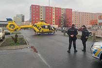Vrtulník záchranné služby zasahoval v Teplicích.