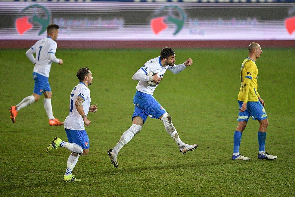 Utkání 21. kola první fotbalové ligy: FC Baník Ostrava – FK Teplice, 27 února 2021 v Ostravě. (střed) Patrizio Stronati z Ostravy oslavuje gól.
