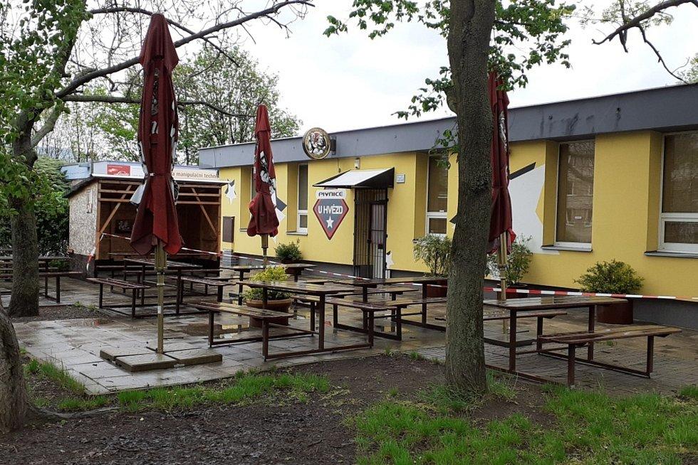 Terasy v Teplicích před otevřením (rozvolnění Covid 17. května)