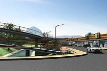 Toto je jeden z návrhů, jak by centrum v Bílině mělo vypadat. Stavební práce odstartovaly demolicí objektů u nádraží.