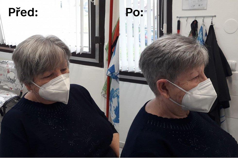 Jana Pluhařová, která má kadeřnictví ve Zdounkách, upravila jedné ze stálých zákaznic účes.