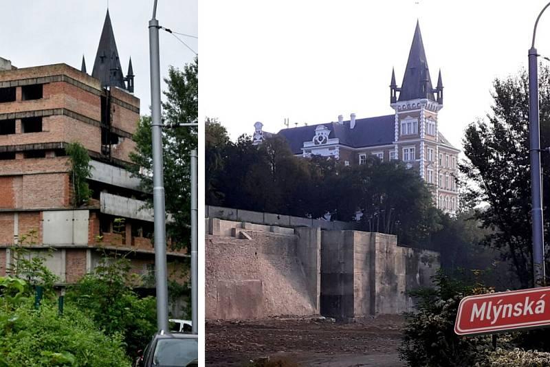 Mlýnská ulice v Teplicích, před a po demolici letité ruiny.