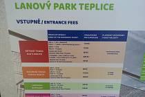 Lanový park Teplice - ceník