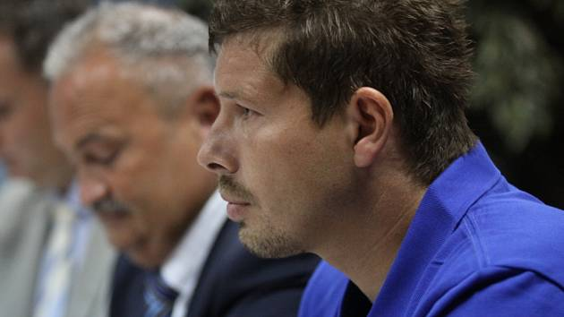 Tisková konference FK Teplice. Lukáš Přerost a František Hrdlička