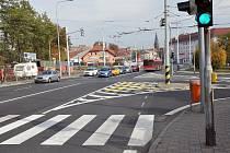 Změna dopravního značení na křižovatce Masarykova -  Hrázní.